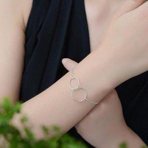 925 Sterling Silver Double Circle Bracelet Anklet